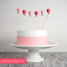 Cake Bunting, Hot Air Balloons in Pink