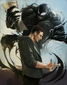 Eddie and Venom- Fan art. Marvel Comics, Marvel Venom, Marvel Villains, Marvel Memes, Marvel Avengers, Venom Comics, Eddie Brock Venom, Venom Art, Spiderman Art