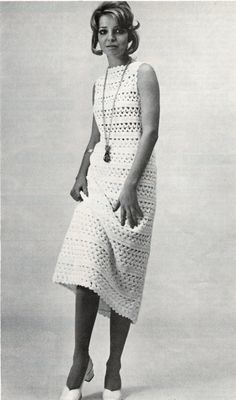Midi Length Lace Dress Vintage Crochet Pattern 1970 pdf  Instant Download (pattern $2.75)