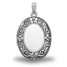"""Sterling Silver Oval """"Antique"""" Picture Locket - 3/4 Inch X 1 Inch Sterling Silver. Available in Large & Extra Large. 17mm - size of a US dime, 19mm - size of a US nickel, 25mm - size of a US quarter. Made in the USA. All Medals are Solid 14k or .925 Sterling Silver. Free Jewelry Gift Box. Chain NOT Included. Ships in one day."""