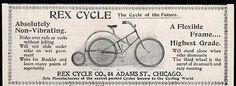 Rex Cycle Third Wheel Bicycle Rex Cycle Co. Chicago 1898 Biking Cycling AD