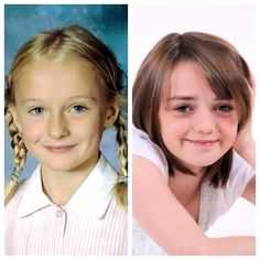 When they were younger: Sophie Turner and Maisie Williams. They play Sansa and Arya on Game of Thrones