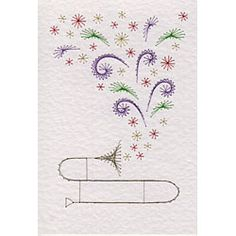 Musical Flowers Trombone | Flowers patterns at Stitching Cards.
