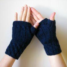 Navy Fingerless Mittens Hand Knitted - Fetching | knitBranda