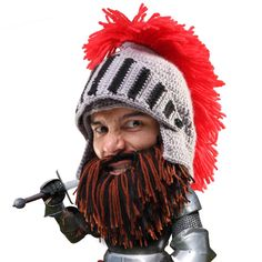 The one size fits all Barbarian Knight Beard Hat used by Sir Beard Head in medieval times! This funny knight beard hat features an awesome red mane and an Knitted Beard, Knitted Hats, Fake Beards, Beard Head, Beard Beanie, Knights Helmet, Beard Look, Funny Hats, Animales