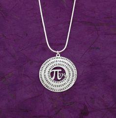 Pi necklace - math jewelry - geometry necklace - silver Pi - mathematics