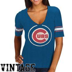 Red Jacket Chicago Cubs Womens Trainer V-Neck T-Shirt - Royal Blue
