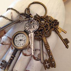 Sherlock Homes inspired skeleton key ring necklace