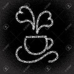 Tazza di caffè caldo a forma di cuore fumante Sulla lavagna Illustrazione di eps10 vettoriale