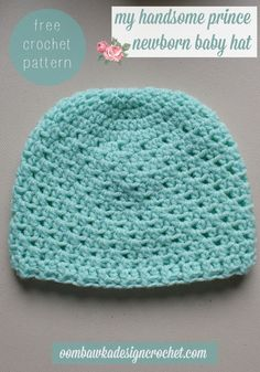 My Handsome Prince Newborn Baby Hat - Free Crochet Pattern