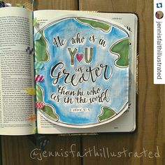 Just love this tip in and the art work is  #Repost @jennisfaithillustrated ・・・ First tip-in! Great for when the page already has another entry. Check out my washi bookmark you inspired @michellehotchkissart . :) Inspired by #mercyme #greater. #illustratedfaith #journalingbible