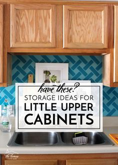 Storage Ideas for Little Upper Cabinets | Great ideas and solutions for using those small upper cabinets in your kitchen! Kitchen Cabinet Organization, Pantry Storage, Smart Storage, Storage Cabinets, Kitchen Organization, Kitchen Storage, Storage Ideas, Kitchen Pantry, Inside Cabinets