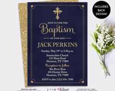 Navy Baptism Invitation  Navy Blue Gold First by ZoeyBlueDesigns