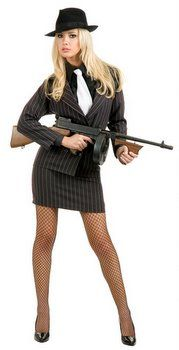 Women's Pinstriped Gangster Suit Costume - 20's and 30's Costumes - Candy Apple Costumes