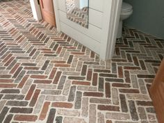Thinking about putting a brick floor in your home? Read this post for information about where to buy brick tiles, cost, sealer, and more! Brick Look Tile, Brick Tile Floor, Brick Pavers, Brick Flooring, Kitchen Flooring, Floors, Ceramic Tile Floor Bathroom, Painting Shiplap, Faux Painting