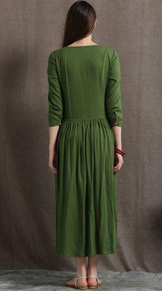 Linen Maxi Dress, Moss Green Asymmetrical Semi-Fitted Casual Comfortable Women's Dress, Plus size Pleated shirt dress with pockets Linen Dresses, Women's Dresses, Flowing Dresses, Pleated Shirt, Shirt Dress, Trendy Dresses, Summer Dresses, Maxi Robes, Mode Hijab