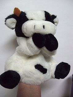 """Black White Cow Hand Puppet Plush Full Body All 4 Limbs 10"""" Glass Eyes Lined EUC #Unbranded"""