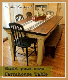 How to build your own Farm House table for under $100...super easy instructions, plus parts list....Can't wait to do this!!!