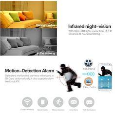 Mini IP Camera, UOKOO Home WiFi Wireless Security Surveillance Camera System with Night Vision/Two Way Audio (nightblack) Wireless Security Cameras, Security Surveillance, Hidden Camera, Ip Camera, Alarm System, Night Vision, Sd Card, Wifi, Audio