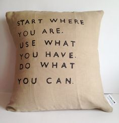 get plain pillow then get letters from craft store and iron on