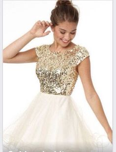 Gold and white sparkling dress #sparkle