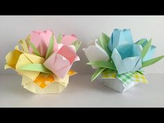 T 折 り 紙 ・ コ ピ ー 用紙】 パ ス テ ル カ ラ ー の チ ュ ー リ ッ プ の ア レ ン ジ Arrangement de tulipes en papier – Origami Community : Explore the best and the most trending origami Ideas and easy origami Tutorial Gato Origami, Origami Cube, Origami Star Box, Origami And Kirigami, Origami Fish, Origami Paper, Origami Youtube, Origami Wedding, Origami Videos