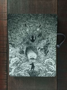 Power and Strength. Detailed Moleskine Doodles with many Whales. By Kerby Rosanes.