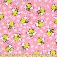 Flannel Tossed Bee Candy Pink