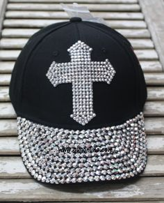 f1deabaf752 Black Baseball Cap with Bling Crystal Cross