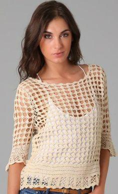 Handmade crochet blouse, bell sleeves - MADE TO ORDER Elegant crochet top with bell sleeves. Pull Crochet, Gilet Crochet, Mode Crochet, Crochet Blouse, Crochet Lace, Crochet Stitches, Crochet Designs, Crochet Patterns, Black Crochet Dress