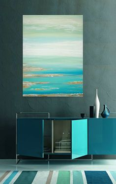"""Art, Large Painting, Original Abstract, Acrylic Paintings on Canvas by Ora Birenbaum Titled: Cool Blues 30x40x1.5"""""""