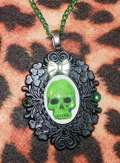Green and Black Skull Cameo Necklace by Pinkspiderwebs on Etsy, $15.00