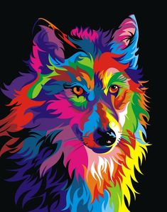 RUOPOTY diy frame Colorful Wolf DIY Painting By Numbers Calligraphy Painting Kit Animals Modern Wall Art Picture For Home Decor-. Oil Painting Pictures, Wall Art Pictures, Pictures To Paint, Abstract Pictures, Wolf Painting, Diy Painting, Painting Tools, Painting Canvas, Painting Prints