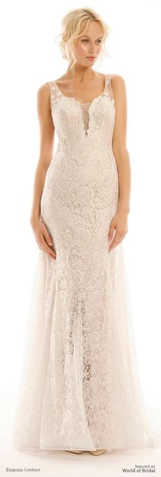 Milanese knit lace in a flared sheath silhouette, deep sheer neckline and low sheer back.