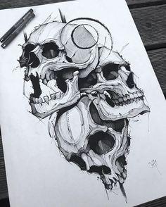 Jakob Holst on Insta Sketch Tattoo Design, Skull Tattoo Design, Skull Design, Skull Tattoos, Tattoo Sketches, Tattoo Drawings, Body Art Tattoos, Art Sketches, Sleeve Tattoos
