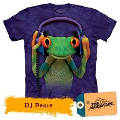 Unisex Clothing Frog Dj Peace T Shirt The Mountain Tee Animal Child Youth Headphones Purple Frog T Shirts, Kids Shirts, Tee Shirts, Biker, Steampunk, Frog And Toad, Herren T Shirt, Unisex, Adulting