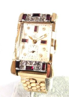 Benrus Art Deco 17 Jewel Watch Gold Tone Sub Set Second Hand Serviced With Case Vintage Watches Women, Vintage Ladies, Gold Models, Top Band, Square Watch, Display Case, Cool Watches, Gold Watch, Art Deco