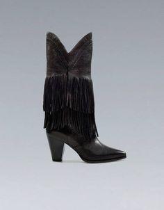 Stivali con tacco e frange Zara