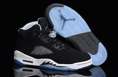 This new look Air Jordan 5 Retro sports a predominantly black premium suede  upper. The simple look is contrasted with white over the collar lining and  ... 569f5c022