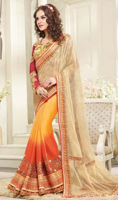 Reveal your impeccable sense of ethnic style dressed in this yellow, orange and cream color crepe half n half sari. The lace, resham and stones work looks chic and great for any party. #halfnhalfsari #floraldesignsari #designersarees