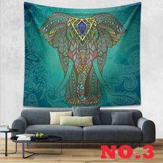 21 Designs Choose Elephant Tapestry Colored Printed Decorative Mandala Tapestry Indian Bohemia Boho Wall Carpet 130cmx150cm