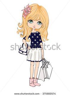 shopping girl,girl vector,girl illustration,girl print,romantic…