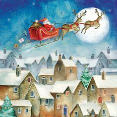 Send season greetings and help out a charity by buying one of these great charity Christmas cards. Merry Little Christmas, Christmas Art, Christmas Ideas, Fantasy Art Landscapes, Landscape Art, Charity Christmas Cards, Santa Pictures, Winter Scenes, Gifs