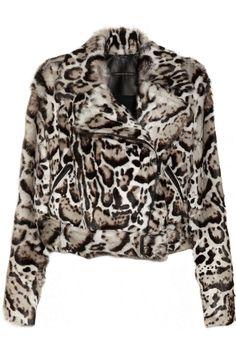...Christopher Kane Animal-print goat hair and leather biker jacket NET-A-PORTER.COM