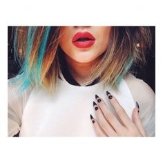 ℒᎧᏤᏋ & just a lil obsessed lol with Kylie's black & bare nail stiletto inspired mani..bold red lips with awesome neon blue & blonde tips!!!! ღ❤ღ