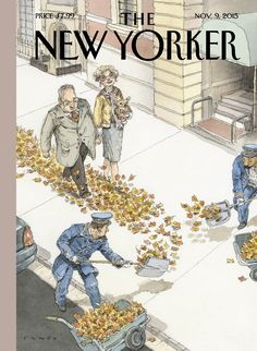 "The New Yorker - Monday, November 9, 2015 - Issue # 4614 - Vol. 91 - N° 35 - Cover ""Rolling Out The Gold Carpet"" by John Cuneo"