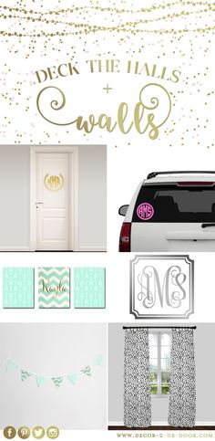 Deck your halls and WALLS! Grab your wall monogram today. Give a personalized Christmas gift by selecting one of Decor 2 Ur Door's vinyl wall monograms. Choose your favorite saying, your name, or monogram. Dorm Room Food, Boho Dorm Room, Dorm Room Bedding, Teen Bedding, Cute Room Decor, Wall Decor, Wall Art, Monogram Wall, Car Monogram