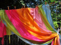 "Pottery Barn Teen Stripe Tie-Top Silk Drapes Curtains 2 PAIR 4 Panels, 84"" x 51"" #PotteryBarnTeen #Contemporary"