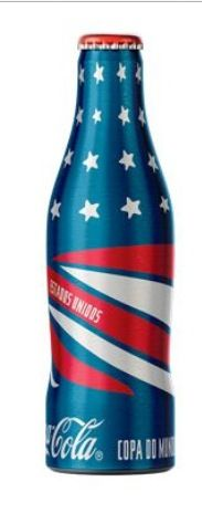Red, white and blue Coca-Cola aluminum bottle.