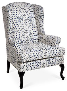 The classic wingback chair gets a modern update with contemporary white-and-midnight-blue upholstery. The hardwood frame is double-doweled and corner-blocked for maximum strength, and the foam. Patio Chair Cushions, Chair Upholstery, Chair Fabric, Upholstered Dining Chairs, Wingback Chairs, Swivel Chair, Leather Wingback Chair, Industrial Office Chairs, Chair Redo